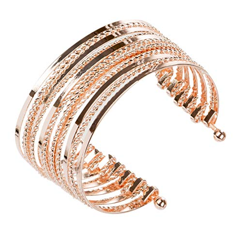 SPUNKYsoul Cuff Bracelets in Gold Silver and Rose Gold for Women (Rose Gold) ()