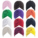ALICE Polyester Turban Sun Cap Headband Head Wrap Head Cover Hat - 1 Dozen ASSORTCOLOR