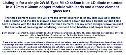 2W 445nm M140 Blue Diode In Copper Module W Leads Three Element Glass Lens Amazon Industrial Scientific