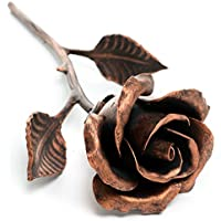 7th Anniversary Gift for Her - Handmade 'Copper' Steel Rose Sculpture