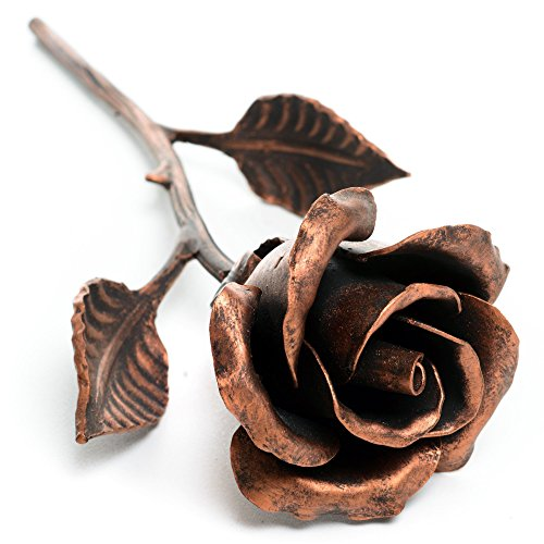 Hand Forged 7th Anniversary Gift 'Copper' Steel Rose -