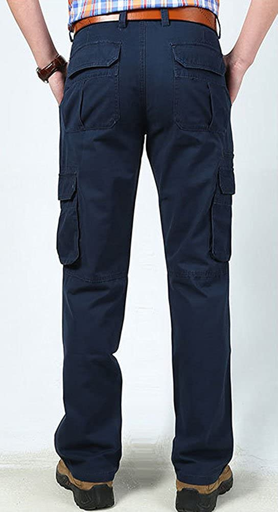 Wsirmet Mens Stylish Casual Cotton Straight Leg Relaxed Fit Multi-Pocket Cargo Pants