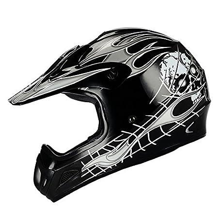 Amazon.com: New Motocross ATV Dirt Bike BMX MX Adult Racing Black Skull Helmet, S: Automotive