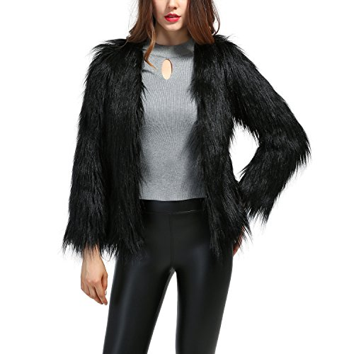 Erencook Women's Shaggy Faux Fur Coat Jacket (3XL=US 12, Black) from Erencook