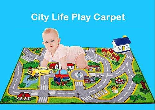 HUAHOO Rug Roads Rug Play mat City Street Map Children Learning Carpet Carpet Kids Rugs Girl Playroom Area 5'