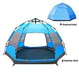 Outdoor 3-4 People/4-6 People Double Hexagonal Beach Automatic Tent, Camping Rainproof Tent, Beach Tent
