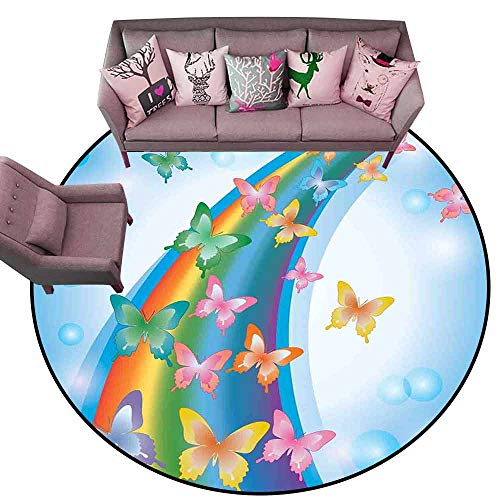 - Office Chair Floor Mat Foot Pad Butterflies,Colorful Background with Rainbow Butterflies Bubbles Fairy Cheerful Graphic Print,Multi Diameter 48