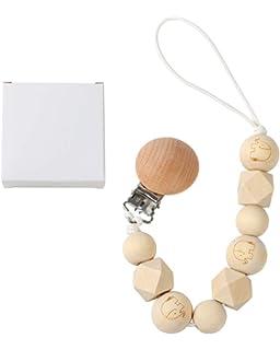 Amazon.com: Chupete con clip de elefante, cuentas de madera ...