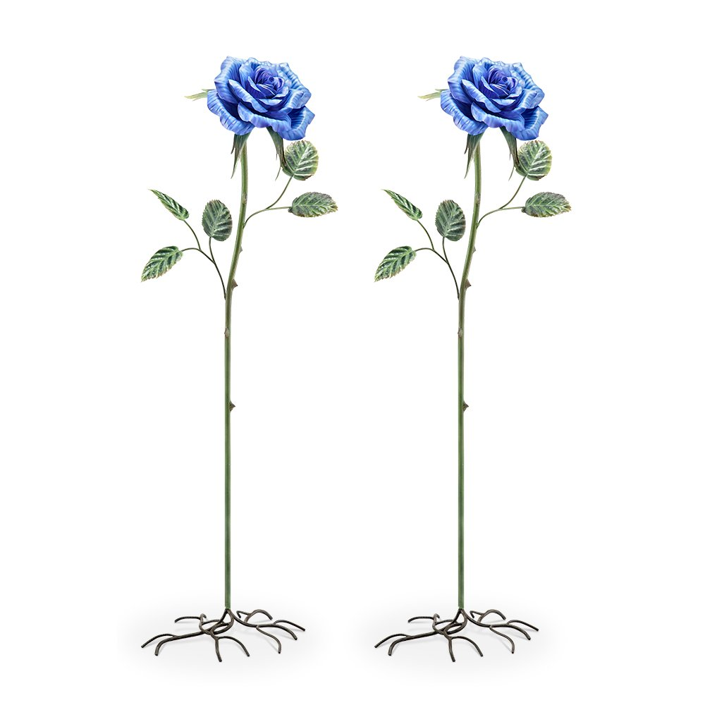 Spi Metal Garden Stakes Spi Metal Blue Rose Garden Stakes Set Of 2 13 X 45 X 8 Inches Multicolored Model # 95004