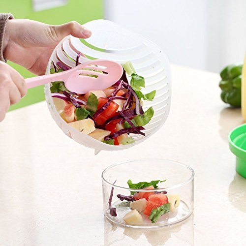 Double Fruit and Vegetable Peeler 60 Sekunden Salat Maker, Gemüse und Früchte Wasch-und Cutter Bowl für Instant und schnellste Salat Zubereitung Chopper (grün)