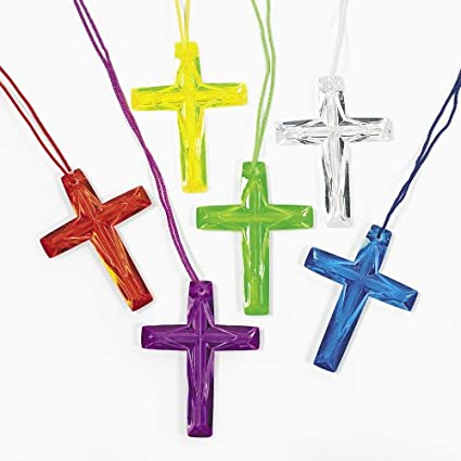Fun Express Plastic Bright Color Crystal Cross Necklaces Religious Party Favors 96 Count
