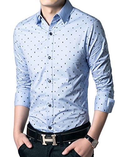 Icegrey Herren Hemd Blumiges Punkt Beiläufiges Langarm Freizeit Slim Fit aus Baumwolle mit Kentkragen Hellblau 46 L