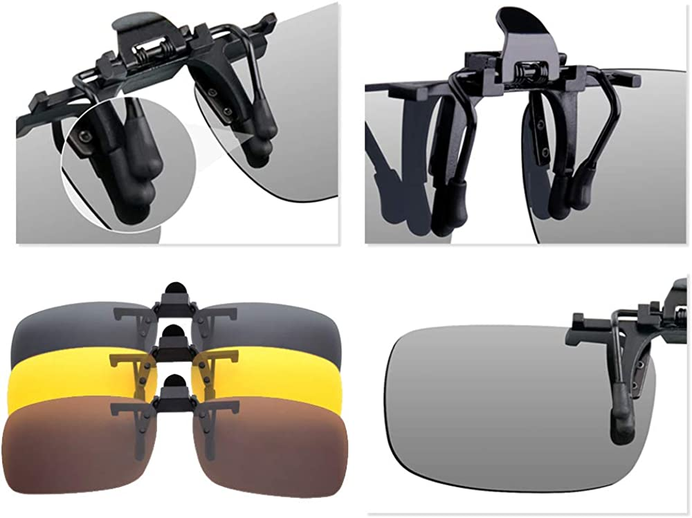Flip-Up Polarised Sunglasses Myopia Night Vision Glasses Fit over Prescription Eyeglasses for Driving and Outdoors BOZEVON Clip on Sunglasses