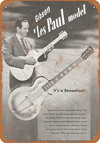 (NOAH PORTER 1952 Gibson Les Paul Introduction American Nostalgic Art Beautiful Traditional Tin Logo 12 8 Advertising Eye-Catching Wall Decoration Gifts )