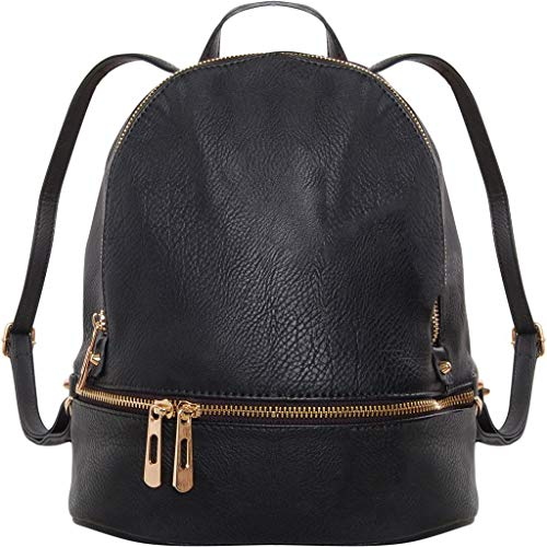 (Humble Chic Vegan Leather Backpack Purse Small Fashion Travel School Bag Bookbag, Black )