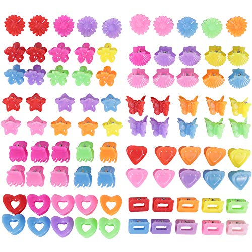 90 Pack Small Mini Flower Star Heart Butterfly Plastic Hair Claw Clips Jaw Barrettes Grip Clamps Pins Updo Decorative Bun Topknot Bangs Braids Twist Accessories for Kids Baby Girl Thin Thick Hair