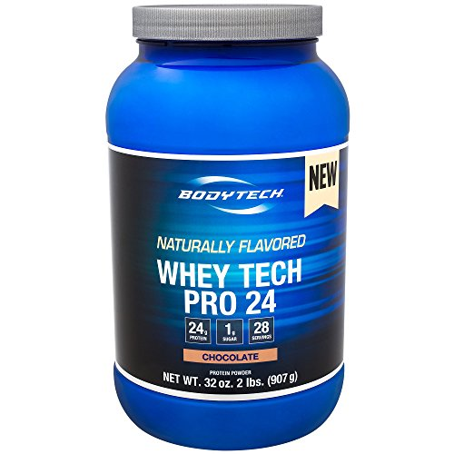 BodyTech Whey Tech Pro 24 Protein Powder Protein Enzyme Blend with BCAA's to Fuel Muscle Growth Recovery, Ideal for PostWorkout Muscle Building Natural Chocolate (2 Pound)
