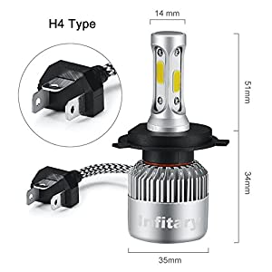 Infitary LED Headlight Bulbs H4 Conversion Kits High/Low Beam Auto Headlamp Dual Beam Car Headlight 72W 6500K 8000LM Extremely Super Bright COB Chips- 1 Pair- 3 Year Warranty (H4/9003/HB2 Hi/Lo)