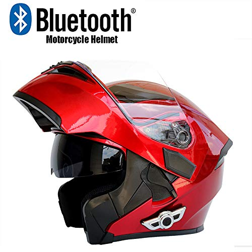Evin Full Face Bluetooth Integrated Motorcycle Helmet Headset, Modular Flip Double Sunshade Motorcycle Helmet 800 Mah Listening Song 20 Hours Men and Women Rainproof,Red,XXL