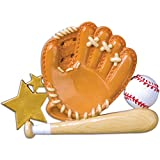 Personalized Baseball Glove Christmas Ornament - Brown Mitt with Ball Wood Bat Score Star - Coach Hobby College School MLB Profession Active Team Player Athlete - Free Customization