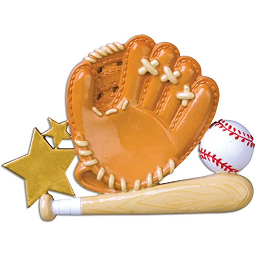 Personalized Bat Wood Baseball (Personalized Baseball Glove Christmas Ornament - Brown Mitt with Ball Wood Bat Score Star - Coach Hobby College School MLB Profession Holiday Gift Active Team Player Athlete - Free Customization)