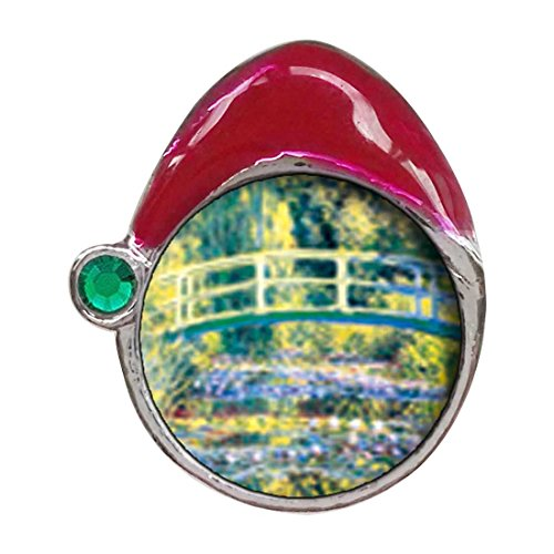 GiftJewelryShop Bridge at Giverny Emerald Green Crystal May Birthstone Red Santa Hat Charm Beads Bracelets