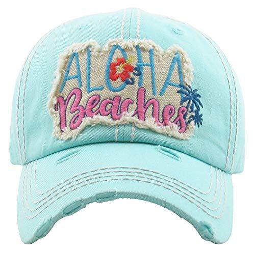 Vintage Girls Cap - H-212-AB54 Distressed Baseball Cap Vintage Dad Hat - Aloha Beaches (Mint)