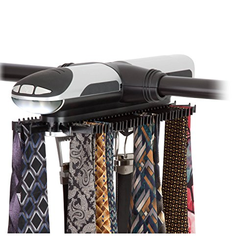 HoneyCanDo HNG03222 Battery Powered Rotating Tie and Belt Closet Organizer Holds Up to 72 Ties8
