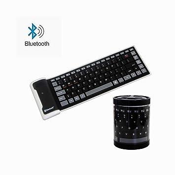 Amazon.com: Teclado Bluetooth inalámbrico, plegable ...
