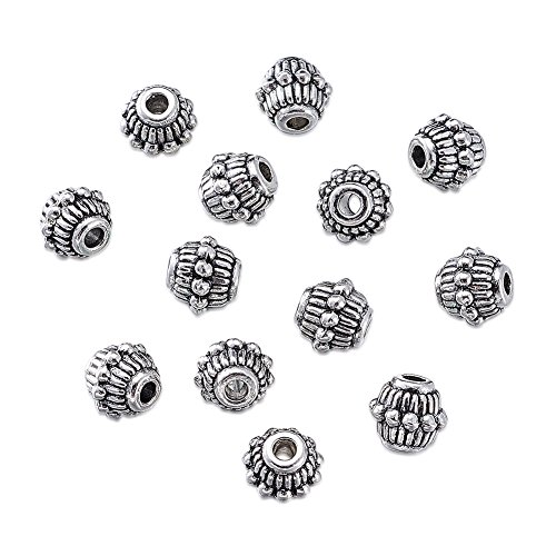 Pandahall 50pcs Tibetan Silver Antique Silver Bicone Bead Spacers Charms for Jewelry Makings Lead Free Cadmium Free Nickel Free 7x6.5mm Hole: 2mm X-AB34