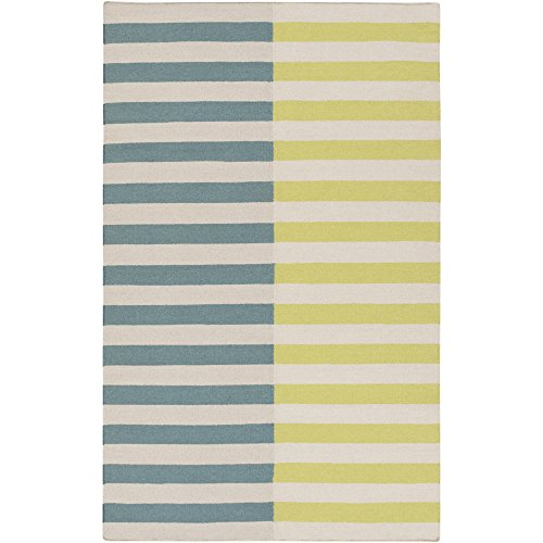 Surya FT562-23 Hand Woven Casual Accent Rug, 2 by 3-Feet, Teal/Lime/Taupe