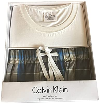 Calvin Klein Men's Pajama Set Long Sleeve Crew Neck and Pajama Pant Navy Blue