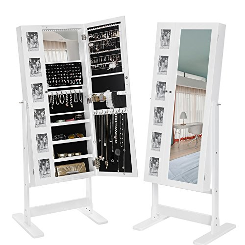 SONGMICS Large Jewelry Cabinet with Mirror 18 LEDs Jewelry Armoire Organizer, 6 Photo Frames White UJJC92W