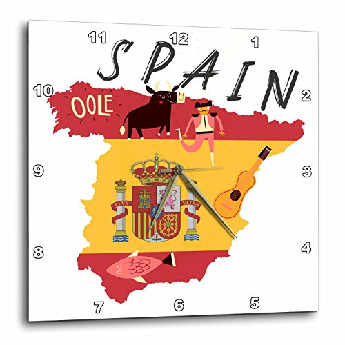 3dRose TNMGraphics Countries - Map of Spain With Flag and Icons - 10x10 Wall Clock (dpp_286294_1) by 3dRose