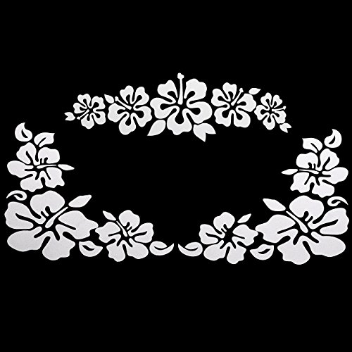 - GraceMe Car Window Body Bumper Decal Sticker Scratch Cover Hibiscus Hawaiian Flower (White)