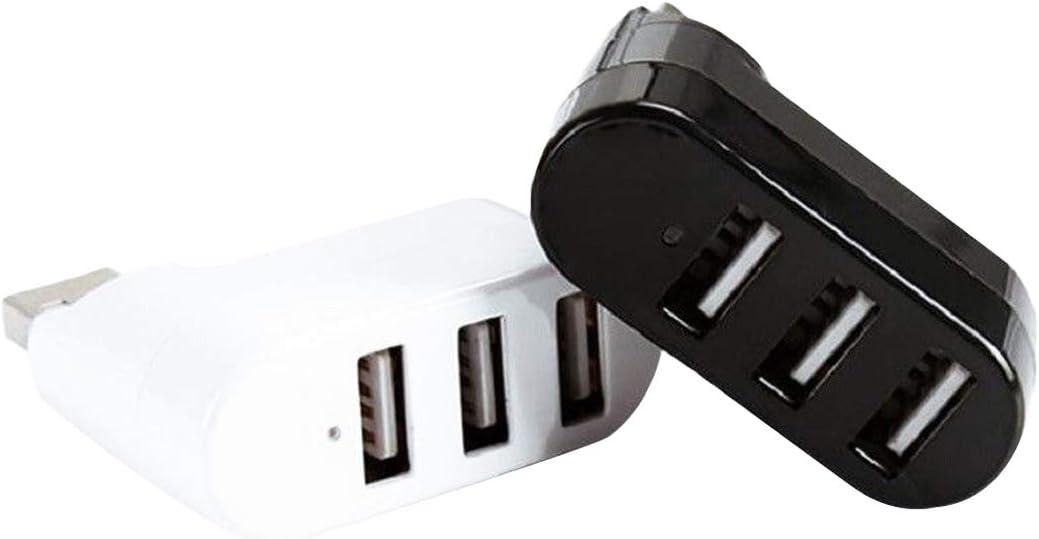Kavas Rotatable Hi Speed Hub USB Splitter 3 Ports USB HUB 2.0 USB Splitter Adapter for Notebook Tablet Computer PC Peripherals