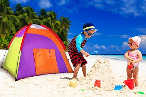 Alvantor Kids Tent Indoor Children Play Toy Toddler Pop up Outdoor Games Colourful Curvy Patent, Red, Orange,Purple,Green, 48'' 48'' 42'' by Alvantor (Image #3)