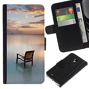 """Samsung Galaxy S4 Mini i9190 / i9195 (Not For Galaxy S4) , la tarjeta de Crédito Slots PU Funda de cuero Monedero caso cubierta de piel ("""" Chair Beach Sea Water Ocean Sunset Sky"""")"""