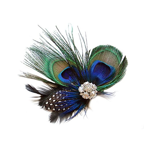Peacock Flapper Headband (CHUANGLI Fascinator Bride Flower Hairpin Evening Dress Headdress Peacock Feathers Clip Headwear for Women)