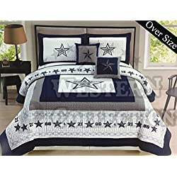 Western Collection 5 Pc Western Navy Blue White Texas Lone Star Cabin Lodge Cowboy Luxury Quilt Bedspread OVERSIZE Comforter (Queen, Navy Quilt Set)