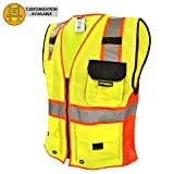 KwikSafety SUPREME Safety Vest   Class 2 ANSI OSHA PPE   High Visibility Reflective Stripes, Heavy Duty Mesh with Pockets and Zipper   Hi-Vis Construction Work Hi-Vis Engineer   Men Red Trim Medium