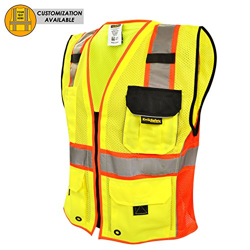 Workplace Safety Supplies High Visibility Two Tone Mesh Safety Vest Reflective With Pockets And Zipper For Construnction Engineer Sturdy Construction