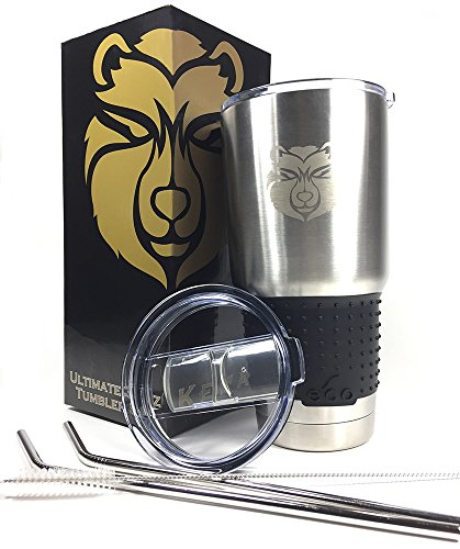 Kenai 30 oz Stainless Steel Double Wall Vacuum Insulated Tumbler And Travel Mug Bundle: Includes 2 BPA Free Lids, 2 Eco Friendly Reusable Straws, Cleaning Brush and Custom Silicone Grip Included