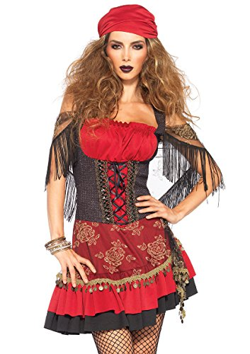Fortune Teller Costume For Halloween (Leg Avenue Women's Mystic Vixen Costume, Burgundy/Black, Small/Medium)