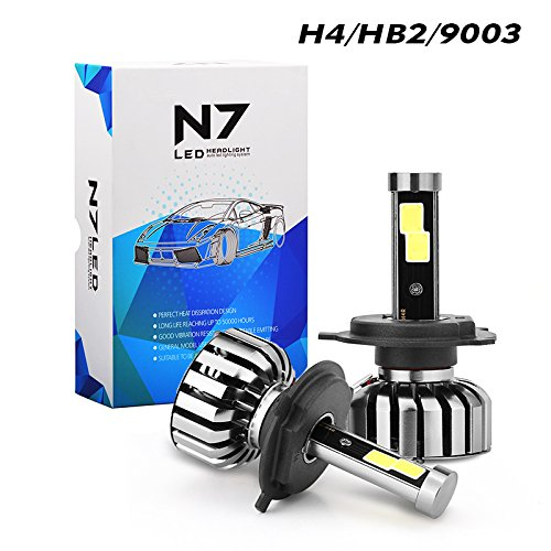 High Output Lamp Assembly - Tencasi 2PCS H4 HB2 9003 Hi/Lo LED Headlight Bulbs Kit, N7 Series 80W 8000LM 6000K Cool White Plug and Play Conversion Kits, Driving Lamp Super Bright COB LED CHIPS