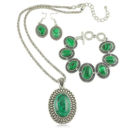 Gambulin Vintage Oval Green Malachite Necklace Bracelet Earrings Set,Green Malachite Necklace Bracelet Earrings Set for Women ()
