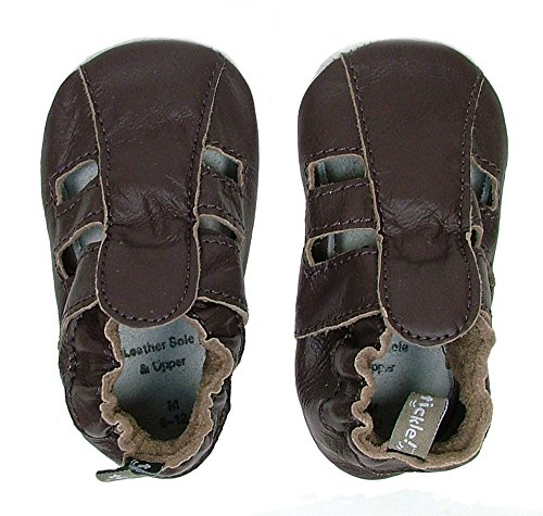 Tommy Tickle Soft Sole Leather Baby Shoes For Boys - Infant Boys Shoes, Toddler Boys Shoes (XLarge (18-24 mo), Chocolate Sandal)