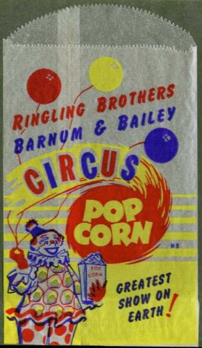 (Ringling Bros Barnum & Bailey Circus unused popcorn bag)