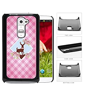 Pink Plaid Pattern with Cute Floral Deer Diamond Center Design LG G2 Hard Snap on Plastic Cell Phone Case Cover