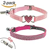 2Pcs Breakaway Bling Cat Collars with Bell & Pet Collar Tag, Small Dog Puppy Velvet Safety Collar Elastic Adjustable Neck 8''-11'',Pink&Red